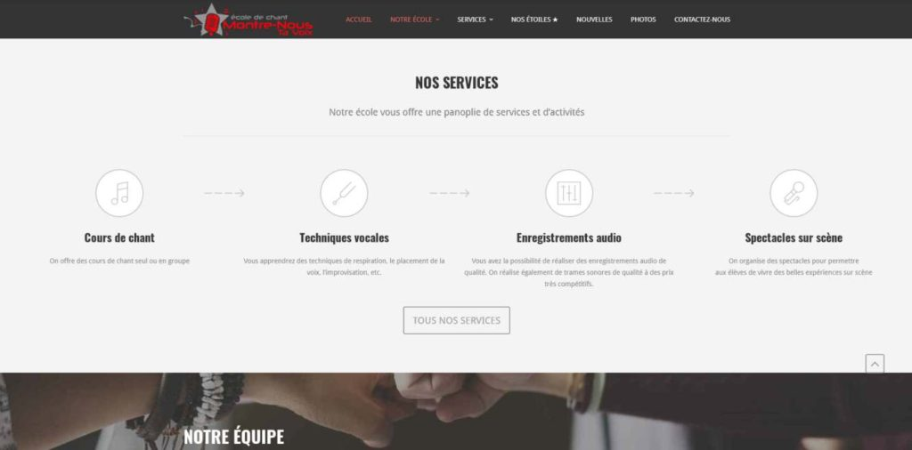 Ecole de Chant Montre Nous Ta Voix - website by KLASS PROD